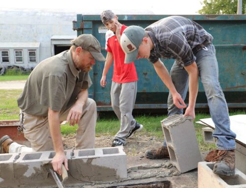 Laying Cement Block with Industrial Arts Class